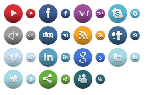 Colored Round Social Icons 1 - All Buttons