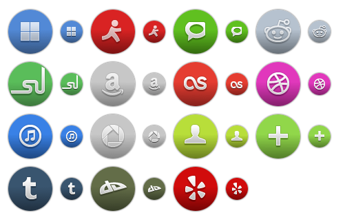 Colored Round Social Icons 2 - All Buttons
