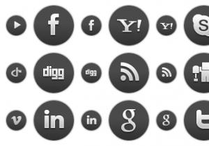 Dark Round Social Icons 1