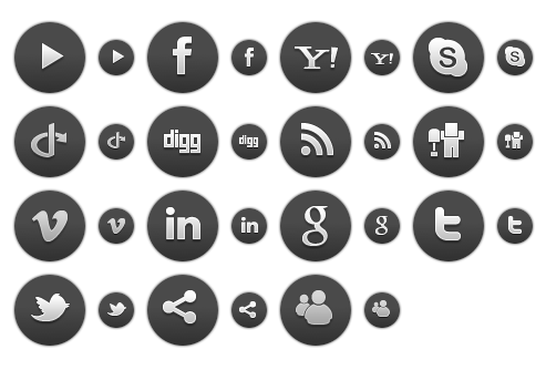 Dark Round Social Icons 1 - All Buttons