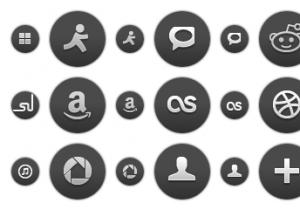 Dark Round Social Icons 2