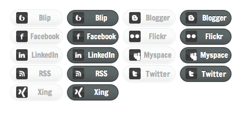 Monochrome Social Media - All Buttons