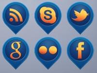 15 Media Pins Social Icons