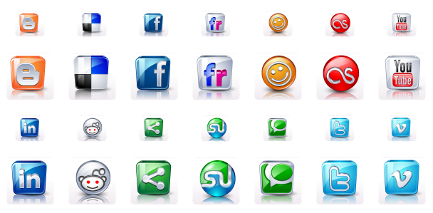 HD Social Media Buttons - All Buttons