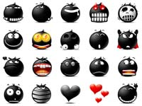 30 Black Emoticons