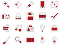 90 Minimalistica Red Icons