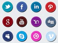 16 Stitched Social Media Icons