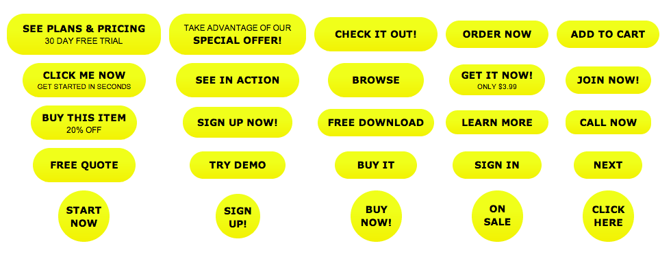 Bright Yellow Action Buttons - All Buttons