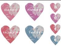 Free Icons: 12 Social Hearts