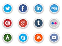 Free Icons: 15 Round Social Media Icons