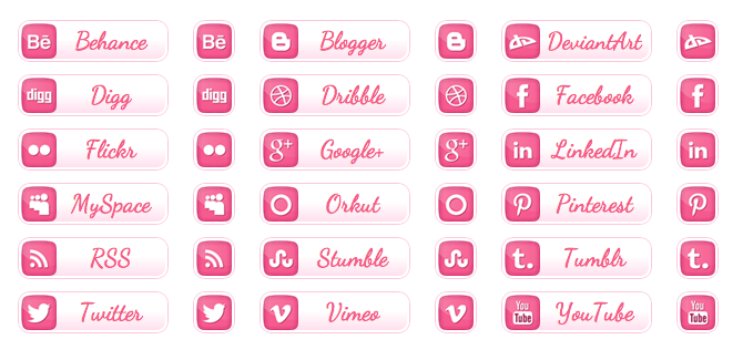 WordPress Buttons Pack - Pink Social Buttons