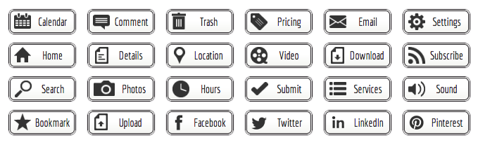 Black and White Web Buttons - All Buttons