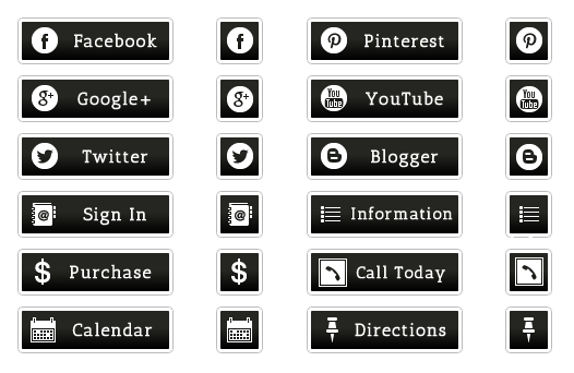 WordPress Buttons Pack - Black Social and Web Buttons