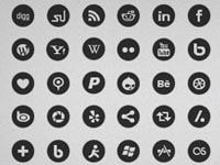 Free Icons: 60 Round Social Mono Icons