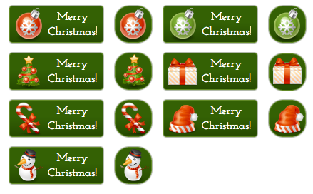 Merry Christmas Buttons - All Buttons