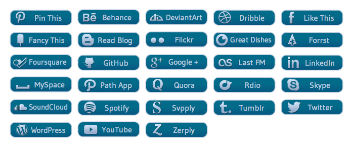 WordPress Buttons Pack - Blue Glyph Social Buttons