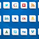 Free Icons: 28 White 2-Corner Social Icons