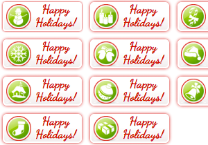Happy Holiday Buttons