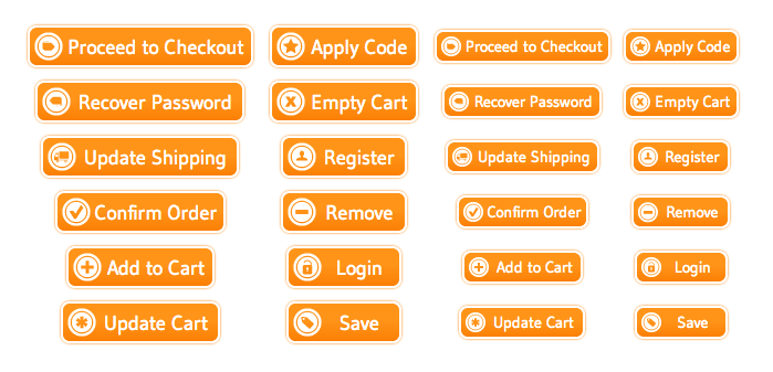 WordPress Buttons Pack - Shopping Cart Orange