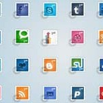Free Icons: 24 Social Postage Stamps