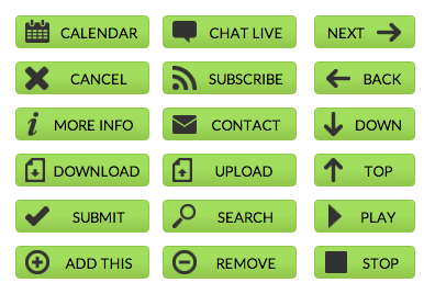 Green Web Buttons - All Buttons