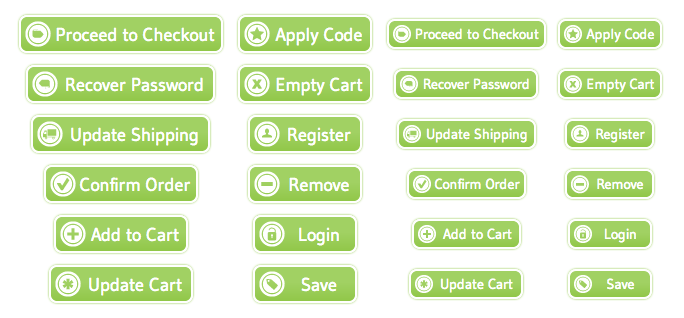 WordPress Buttons Pack - Shopping Cart Green