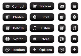WordPress Buttons Pack - Black Chrome Buttons