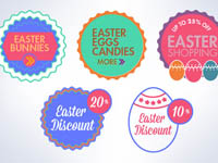 Free Icons: 5 Easter Shopping Discount Badges