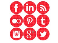 Free Icons: 9 Round Red Social Icons