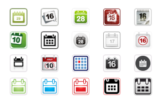 Calendar Icon Buttons - All Buttons