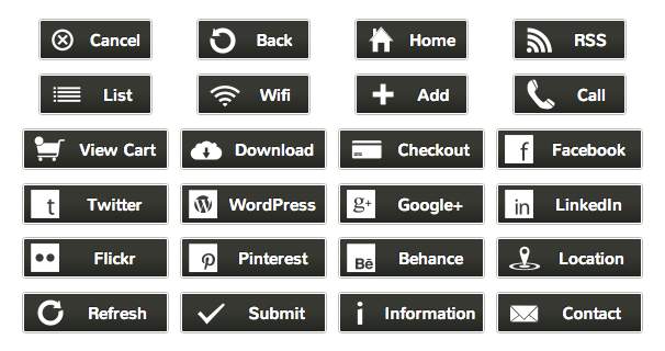 WordPress Buttons Pack - Polished Gray Buttons
