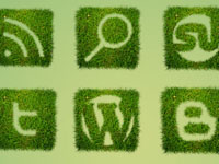 Free Icons: 12 Grass Textured Social Icons