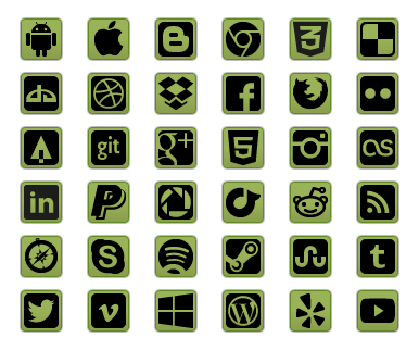 Green Social Icon Buttons - All Buttons