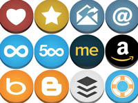 Free Icons: 90 Flat But Not Flat Social Icons