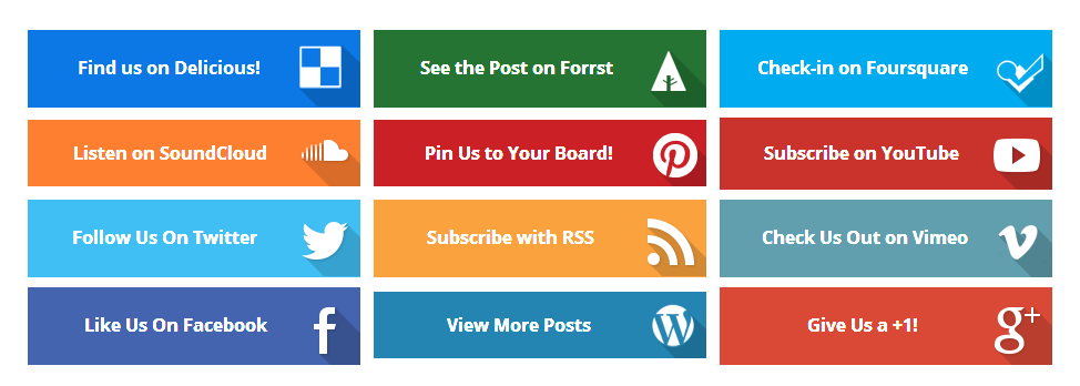 Colorful Flat Social Buttons