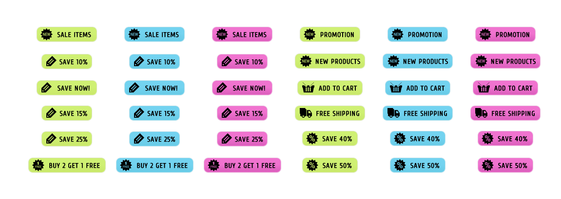 Neon Sale WordPress Buttons