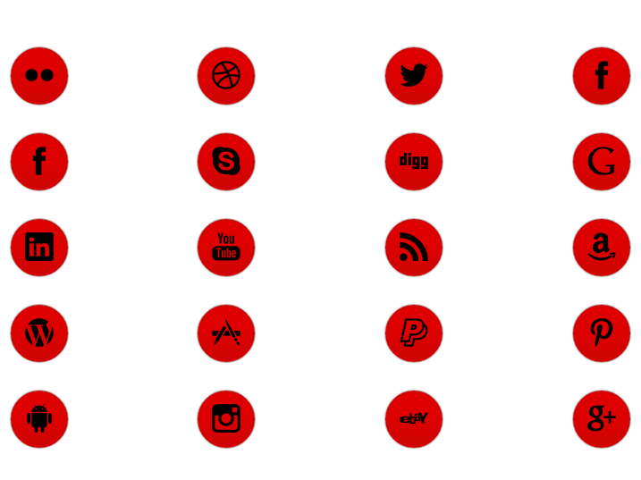 WordPress Buttons Pack - Big Red Social Buttons