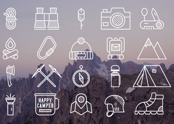 20 Mountain Explorer & Travel Icons