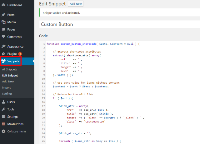 shortcode button PHP
