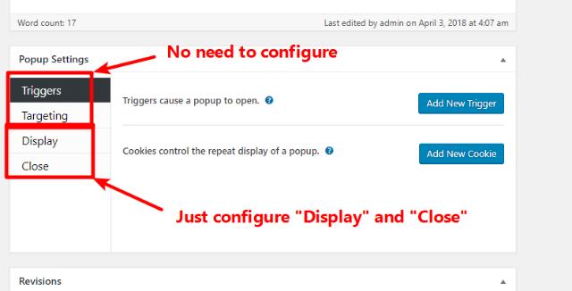 configure popup